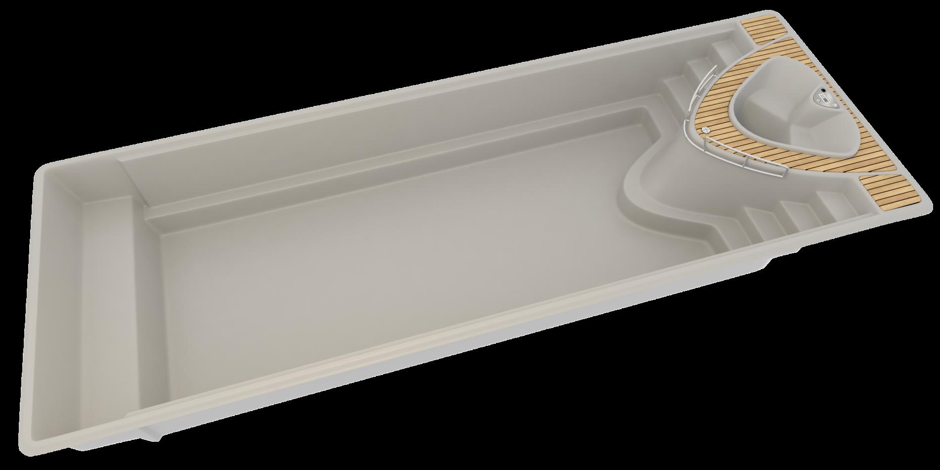 Yacht, poolen med inbyggt spabad