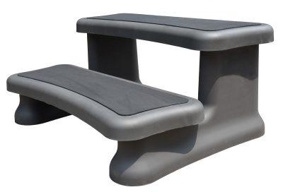 Spatrappa Smartstep lux, grå/svart trappa till spabad